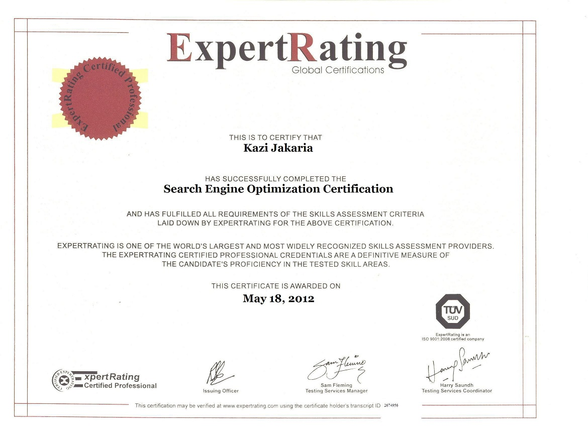 ExpertRating Seo certification